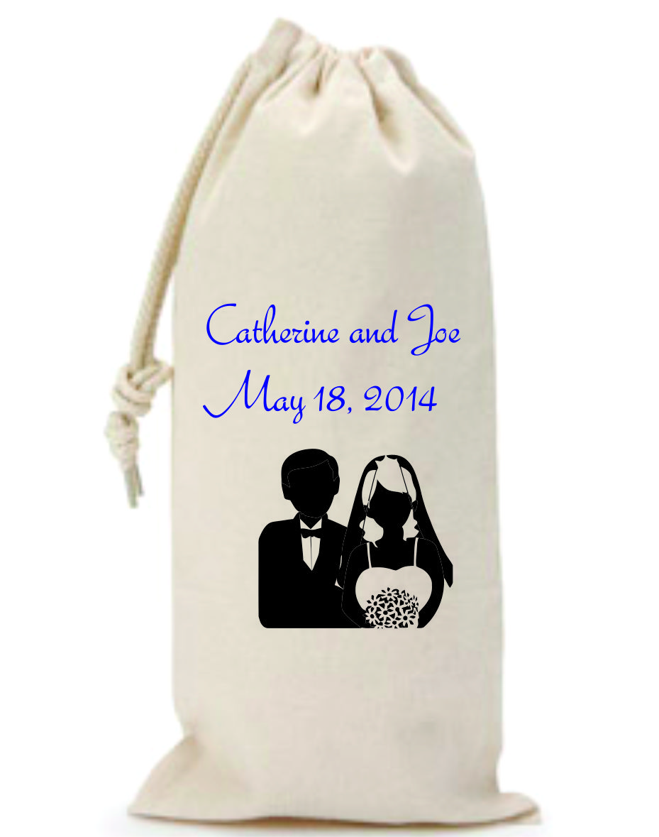 Custom Drawstring Wine Bags For Wedding Favors: Custom Screen ...